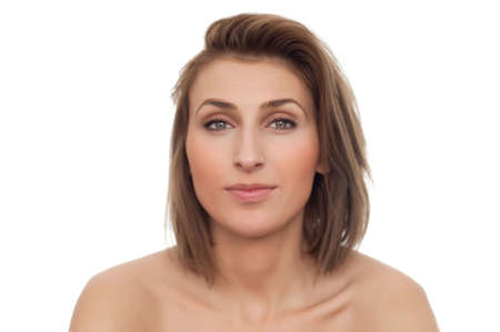 portrait of young beautiful happy smiling woman with naked shoulders and straight head on white, isolated, copyspace Stock Photo