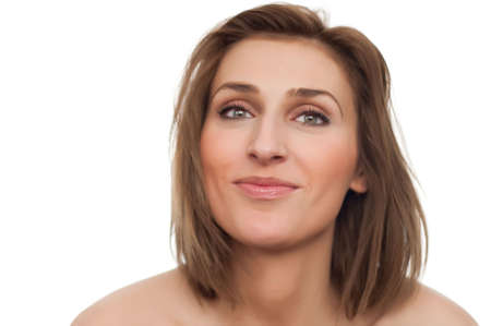 portrait of young beautiful happy smiling woman with naked shoulders and turned head on white, isolated, copyspace Stock Photo