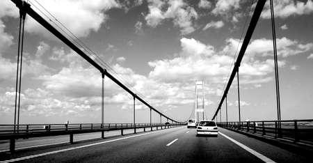 Bridge in Svendborg in Denmark in black and white color