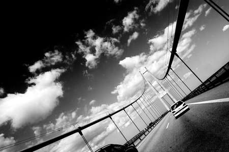 Bridge in Svendborg in Denmark in black and white color