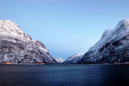 Landscape with a lake and mountains in Norway photo