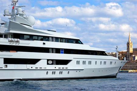 Luxury yacht in a port in Malta