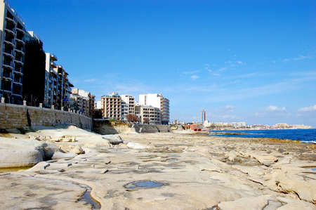 Waves breaking on the rocky coast of Malta