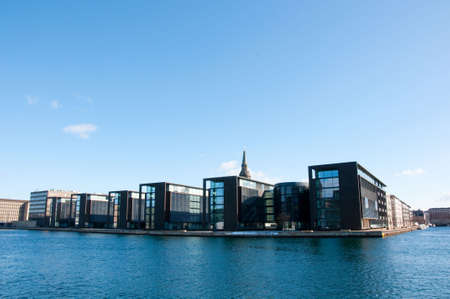 Modern office buildings on the waterfront in the harbour of Copenhagen, Denmark