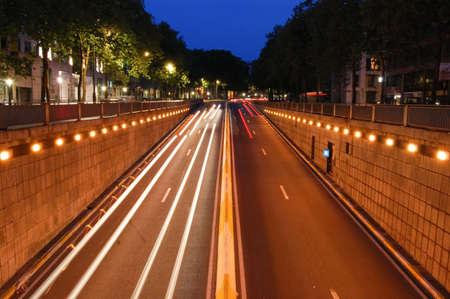 Picture of night road in Paris Stock Photo