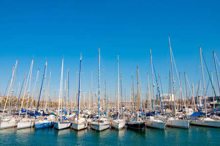 Row of yachts in Barcelona Stock Photo