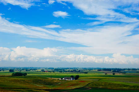Clouds over summer rural landscape  Stock Photo