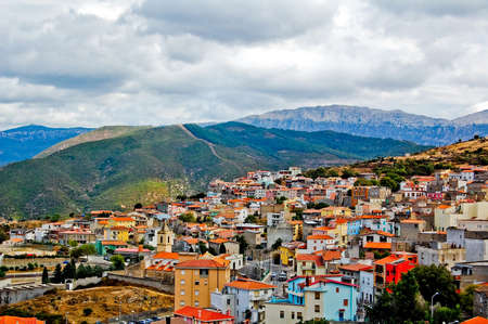 View on mountains and a town in Sardinia in Italy