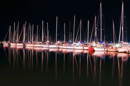 Yachts at night in Sardinia