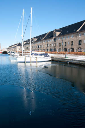 Yachts on a one of the water canals in Copenhagen