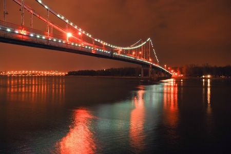 Night bridge in Kiev photo
