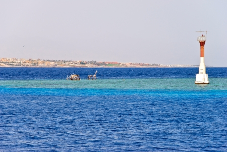 naama bay: Coral reef near Tiran, Egypt Stock Photo