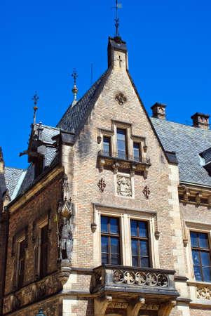 chimney corner: Antiguo edificio en Praga, Rep?blica Checa Foto de archivo