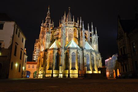 vitus: Night view on St  Vitus Cathedral, Prague Stock Photo