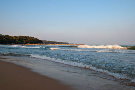 Sandy beach in the evening, Varna photo