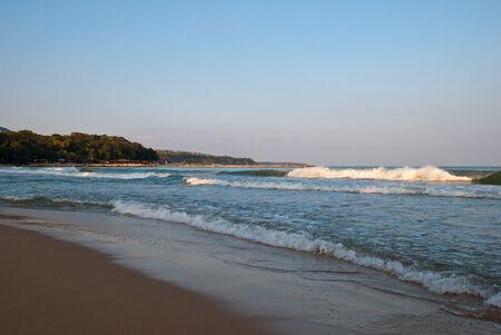 breakers: Sandy beach in the evening, Varna Stock Photo