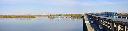 dnieper: Panoramic view of Dnieper River in Kiev Stock Photo