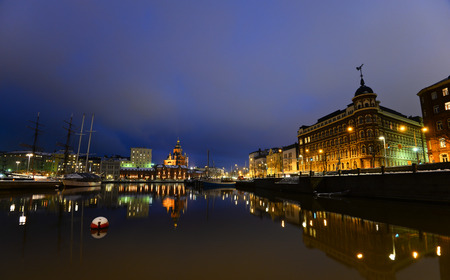 Night view of the Old Town in Helsinki Finland