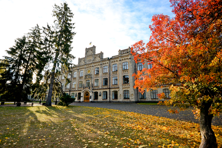 View of Kiev Polytechnic Institute in the fall 版權商用圖片