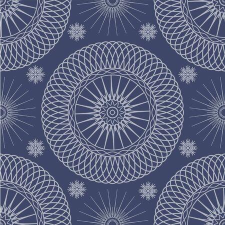 spirograph: Bright mosaic spirograph winter vector background