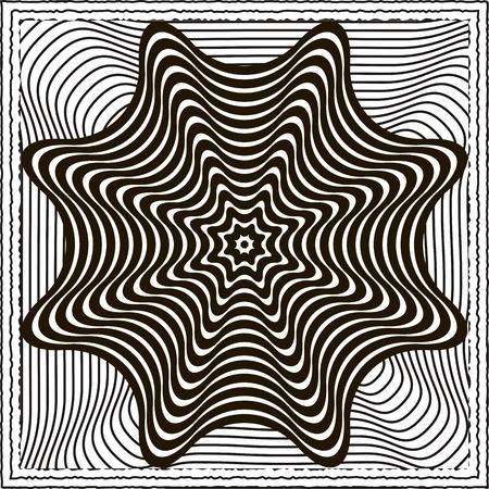 entangled: Black and white optical illusion vector background Illustration