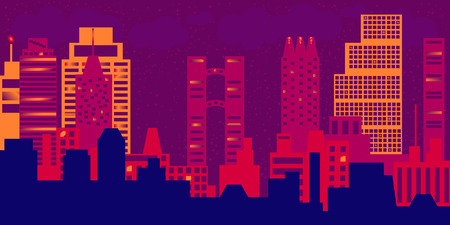 night view: Night view of modern cityscape
