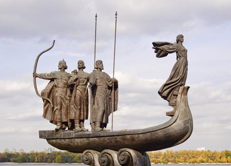 founders: Monument to the founders of Kiev near Dnieper river, Kiev, Ukraine Stock Photo
