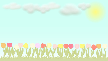 boarder: Colorful bright vector flowers tulips and blue sky with clouds
