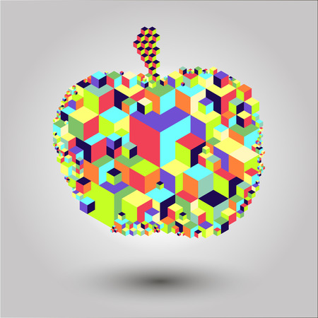 Bright cubic apple fruit unique modern colorful vector icon. Easy to edit and recolor. Apple fruit geometric icon for web or print use. Illustration