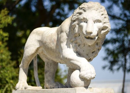 vorontsov: Beautiful old marble statue of lion near Vorontsov Palace in cultural heart of Odessa, Ukraine