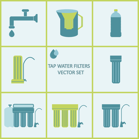 purification: Tap water filter icon set. Drink water purification filters. Different tap water filtration systems for water treatment at your home