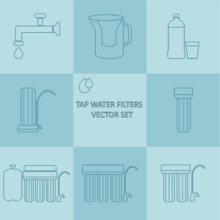 filtración: Tap water filter outline vector icon set. Drink water purification filters. Different tap water filtration systems for water treatment at your home