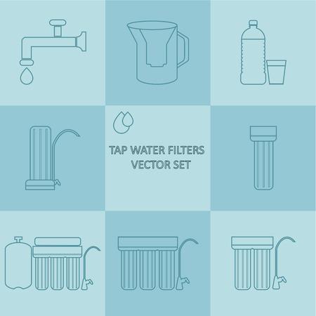 filtración: Toque filtro de agua de contorno de iconos de vectores. Beber filtros de purificación de agua. Los diferentes sistemas de filtración de agua del grifo para el tratamiento del agua en su hogar Vectores
