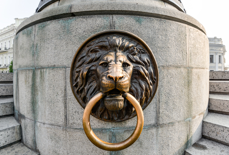 Odessa, Ukraine - July 25, 2016: Lion on the Famous Monument to City Founders, Odessa Ukraine. In 2007 was restored the lost monument to the city founders by the City Council. Editorial