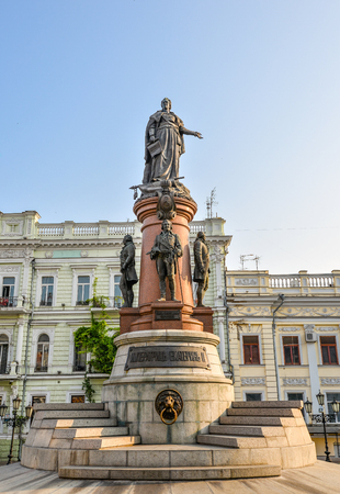 restored: Odessa, Ukraine - July 25, 2016: Famous Monument to City Founders, Odessa Ukraine. In 2007 was restored the lost monument to the city founders by the City Council. Editorial