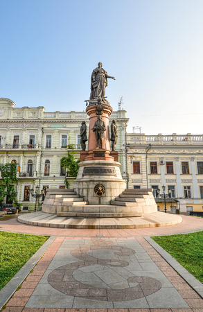 founders: Odessa, Ukraine - July 25, 2016: Famous Monument to City Founders, Odessa Ukraine. In 2007 was restored the lost monument to the city founders by the City Council. Editorial