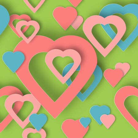 Beautiful hearts vector background or card. Bright pink paper hearts template for banner, flyer, wedding, anniversary, birthday, Valentines day, party, poster, invitation, brochure. Hearts background Illustration
