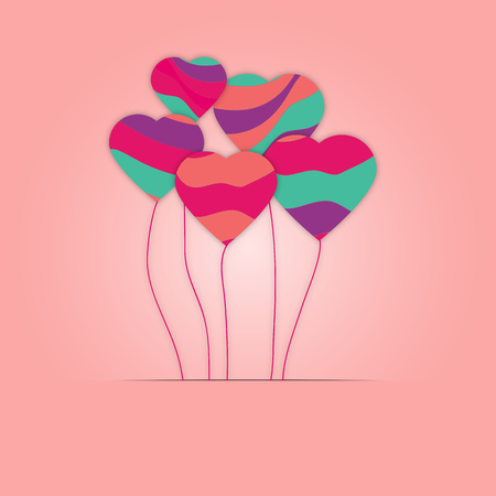 Bright pink paper hearts vector background. Colorful Vector hearts collage. Wedding, anniversary, birthday, Valentines day, party design for banner, poster, card, invitation, brochure, flyer.