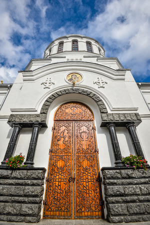 October 20, 2016 - Kamianets-Podilskyi, Ukraine: Old Alexander Nevsky Cathedral, Kamenetz-Podolsk. Ancient beautiful cathedral in Kamianets-Podilskyi, Khmelnitsky region, Ukraine Stock Photo