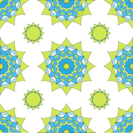 Abstract geometric mosaic background. Geometric seamless spirograph pattern in blue and green colors. Vector illustration. Design for banner, poster, card, invitation, brochure, flyer, template. Illustration