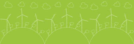 Green eco concept - wind energy. Wind generators, vector illustration. Alternative power energy technology. Green energy for power supply. Element of design, infographic, template, banner, background. Illustration