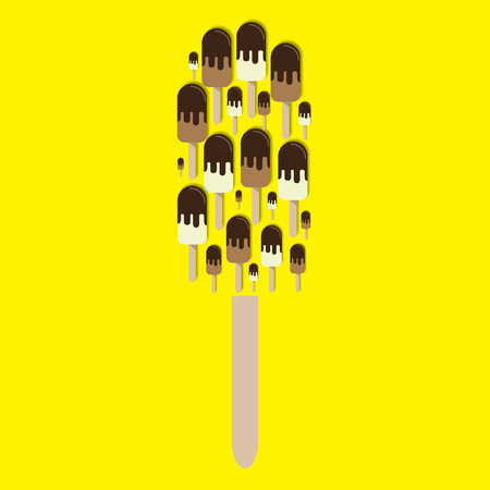 Chocolate and vanilla ice cream in chocolate glaze 3d vector icon. Popsicle ice cream. Ice lolly cut out collage.