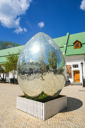 giant easter egg: Kiev, Ukraine - April 15, 2017: Kiev Pechersk Lavra and easter installation of giant diamond egg, Kiev Ukraine