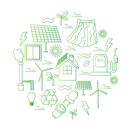 power: Vector set of simple eco related line icons. Contains icons for different types of electricity generation: wind generators, solar panels, biofuel, hydropower, thermal energy. Print or infographics