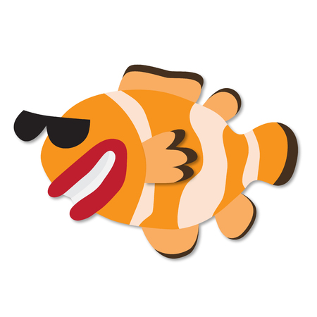 Funny hand drawn cartoon clown fish. Paper art style. Vector 3d. Smiling clown fish in sun glasses isolated on white. Clown fish grotesque or caricature Illustration