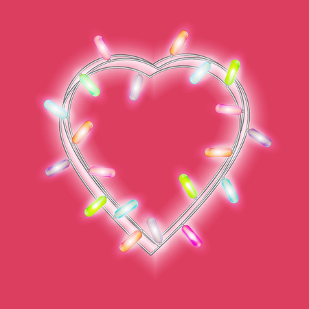 Garland in form of heart with glowing lights isolated on bright pink background. Vector illustration. Illustration