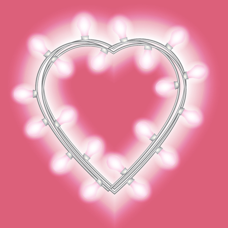 Garland in form of heart with glowing lights isolated on bright pink background. Vector design element for Holiday cards, valentines day Christmas, New Year, birthday, banners. Template or mock up. Illustration