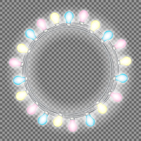 Garland in form of circle with glowing lights isolated on transparent background. Vector design element for Holiday cards, Christmas, New Year, birthday, party. Illuminated banner Template or mock up. Illustration