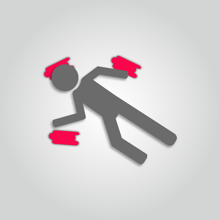 Concept of crime. Icon of a dead person or corpse. rime scene with dead body. 3d. Trendy paper art style vector. Illustration