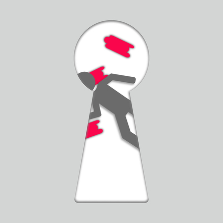 Concept of crime. Keyhole and dead person or corpse. Сrime scene with dead body. 3d. Trendy paper art style vector.